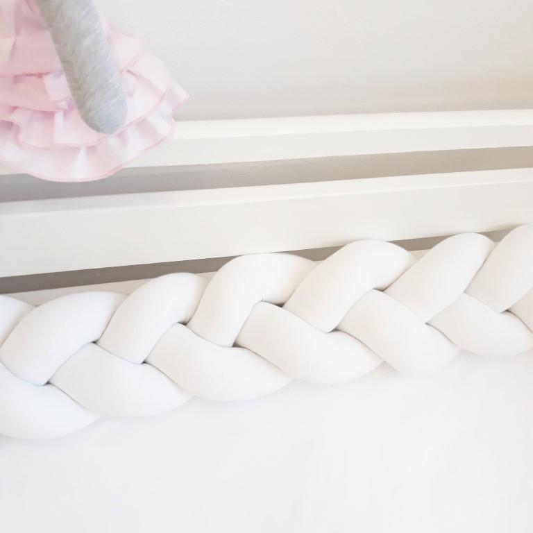 Topnotch Ochraniacz łóżeczka – warkocz biały – Latula – pościele, poduszki KD13